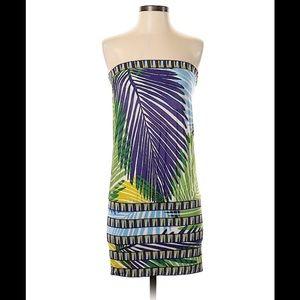 BCBG MaxAzria Tropical Leaf Print Strapless Dress